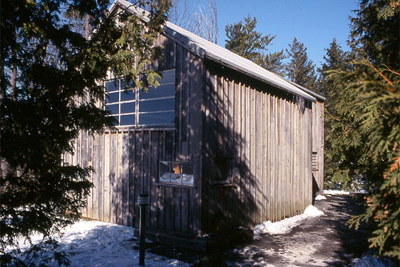 First Snow, 1998, view of exterior of shack