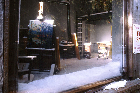 First Snow, 1998, view of interior of shack