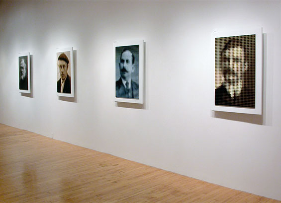 Four men whom I never met and who never knew each other but whose bloodlines converge in my children, 2003, installation view