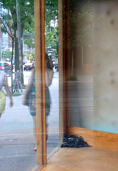 Vagabond Vitrine, 2010, view through vitrine to street
