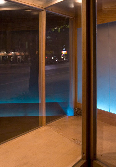 Vagabond Vitrine, 2010, view through exterior portion at night