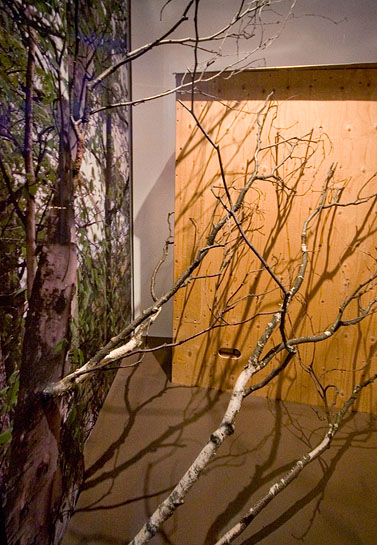 Vagabond Vitrine, 2010, birch branches and mural at the back side of vitrine